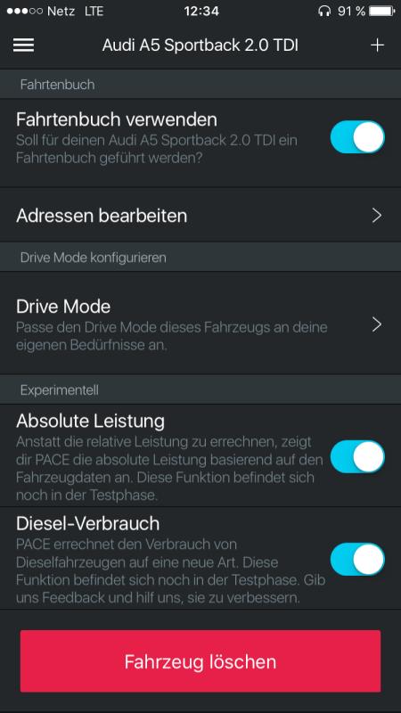 Pace App Funktionen